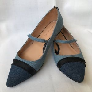 🌲5/$25 Who What Wear Pointed Toe Chambray Flats